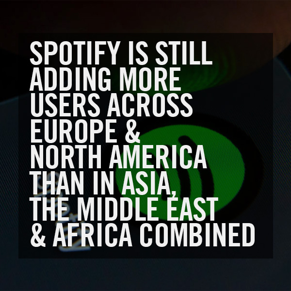 Spotify Is Still Adding More Users Across Europe And North America Than In Asia, The Middle East And Africa Combined